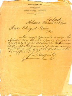 MAJOR GENERAL JULIO SANGUILY GARRITE - AUTOGRAPH LETTER SIGNED 10/11/1902