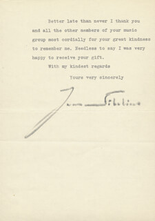 JEAN SIBELIUS - TYPED LETTER SIGNED 10/08/1953