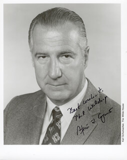 VICE PRESIDENT SPIRO T. AGNEW - AUTOGRAPHED INSCRIBED PHOTOGRAPH