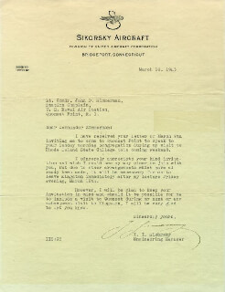 IGOR SIKORSKY - TYPED LETTER SIGNED 03/10/1943