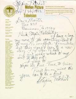 STEPIN FETCHIT - AUTOGRAPH LETTER DOUBLE SIGNED 09/22/1982