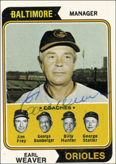 EARL WEAVER - TRADING/SPORTS CARD SIGNED