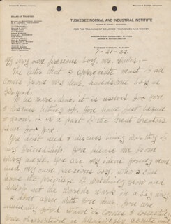 GEORGE WASHINGTON CARVER - AUTOGRAPH LETTER UNSIGNED 07/21/1932