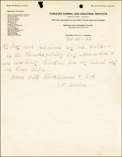 GEORGE WASHINGTON CARVER - AUTOGRAPH LETTER SIGNED 11/21/1932