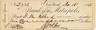 MAJOR GENERAL DANIEL E. SICKLES - AUTOGRAPHED SIGNED CHECK 12/18/1885