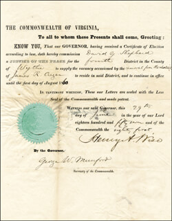 BRIGADIER GENERAL HENRY A. WISE - DOCUMENT SIGNED 06/29/1857