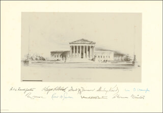 THE FRED M. VINSON COURT - ENGRAVING SIGNED CO-SIGNED BY: ASSOCIATE JUSTICE ROBERT H. JACKSON, ASSOCIATE JUSTICE HAROLD H. BURTON, ASSOCIATE JUSTICE HUGO L. BLACK, ASSOCIATE JUSTICE TOM C. CLARK, ASSOCIATE JUSTICE WILLIAM O. DOUGLAS, ASSOCIATE JUSTICE SHERMAN MINTON, CHIEF JUSTICE FRED M. VINSON, ASSOCIATE JUSTICE STANLEY F. REED, ASSOCIATE JUSTICE FELIX FRANKFURTER