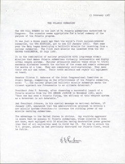 ADMIRAL HYMAN G. RICKOVER - TYPED STATEMENT SIGNED
