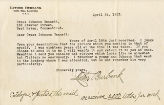 LUTHER BURBANK - TYPED LETTER SIGNED 04/24/1923