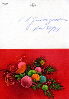 Autographs: VLADIMIR K. ZWORYKIN - CHRISTMAS / HOLIDAY CARD SIGNED