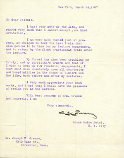 ADMIRAL ROBERT E. PEARY - TYPED LETTER SIGNED 03/14/1907
