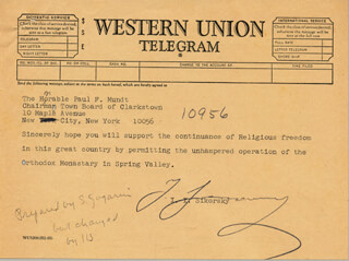 IGOR SIKORSKY - TELEGRAM SIGNED