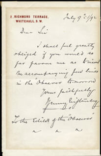 HENRY M. STANLEY - AUTOGRAPH LETTER SIGNED