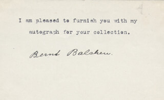 Autographs: BERNT BALCHEN - TYPED NOTE SIGNED