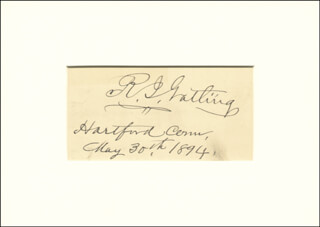 RICHARD J. GATLING - AUTOGRAPH 05/30/1894