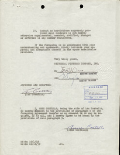 Autographs: ABBOTT & COSTELLO (LOU COSTELLO) - CONTRACT SIGNED CO-SIGNED BY: ANNE (MRS. LOU) COSTELLO