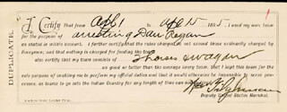 WILLIAM M. BILL TILGHMAN - AUTOGRAPH DOCUMENT SIGNED 04/15/1895