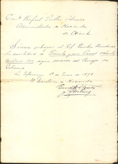 Autographs: COLONEL ERNESTO FONTS Y STERLING - MANUSCRIPT DOCUMENT SIGNED 01/01/1898