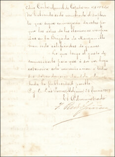 Autographs: BRIGADIER GENERAL TOMAS PADRO SANCHEZ GRIÑAN - MANUSCRIPT DOCUMENT SIGNED 06/26/1899