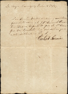 Autographs: MAJOR GENERAL CALIXTO GARCIA IÑIGUEZ - MANUSCRIPT NOTE SIGNED 07/10/1894