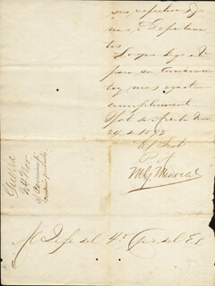 Autographs: PRESIDENT AURELIO MARIO GABRIEL FRANCISCO GARCIA MENOCAL Y DEOP (CUBA) - MANUSCRIPT DOCUMENT SIGNED 11/24/1895