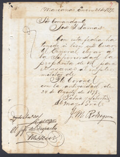Autographs: MAJOR GENERAL JOSE MODESTO RODRIGUEZ - MANUSCRIPT DOCUMENT SIGNED 01/21/1899