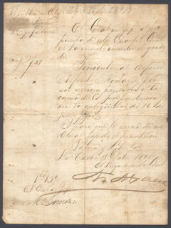 Autographs: LT. GENERAL ANTONIO MACEO GRAJALES - MANUSCRIPT DOCUMENT SIGNED CO-SIGNED BY: GENERAL MAXIMO GOMEZ Y BAEZ