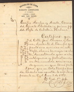 COLONEL EMILIO AVALOS Y ACOSTA - MANUSCRIPT DOCUMENT SIGNED CO-SIGNED BY: PEDRO LLANES