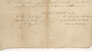 FRANCISCO VICENTE AGUILERA - AUTOGRAPH MANUSCRIPT SIGNED 10/10/1871 CO-SIGNED BY: RAMON DE CESPEDES BARRERO