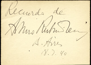ARTHUR RUBINSTEIN - AUTOGRAPH SENTIMENT SIGNED 07/18/1940 CO-SIGNED BY: ISABEL MARENGO