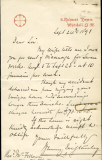 HENRY M. STANLEY - AUTOGRAPH LETTER SIGNED 09/24/1891