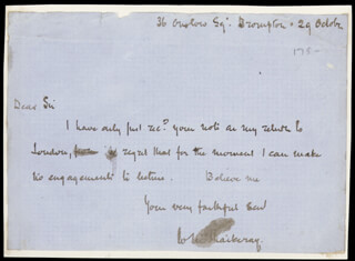 WILLIAM MAKEPEACE THACKERAY - AUTOGRAPH LETTER SIGNED 10/29