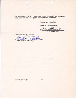 ELIZABETH LIZ TAYLOR - DOCUMENT SIGNED 12/16/1952