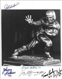 HEISMAN TROPHY WINNERS - AUTOGRAPHED SIGNED PHOTOGRAPH CO-SIGNED BY: JOHNNY LATTNER, JAY BERWANGER, PAT J. (PATRICK JOSEPH) SULLIVAN, TERRY W. BAKER, GARY J. BEBAN