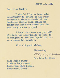 FIRST LADY PATRICIA R. NIXON - TYPED LETTER SIGNED 03/12/1953