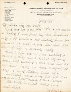 GEORGE WASHINGTON CARVER - AUTOGRAPH LETTER SIGNED 07/13/1932
