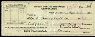 GOVERNOR CHARLES EDISON - AUTOGRAPHED SIGNED CHECK 03/05/1929