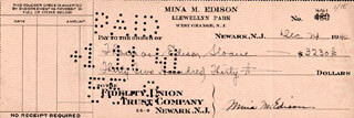 MINA M. EDISON - AUTOGRAPHED SIGNED CHECK 12/24/1940 CO-SIGNED BY: THOMAS EDISON TEDDY SLOANE