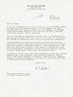 ADMIRAL HYMAN G. RICKOVER - TYPED LETTER SIGNED 06/29/1972