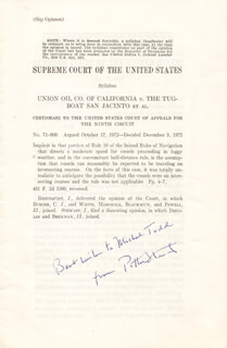 Autographs: ASSOCIATE JUSTICE POTTER STEWART - INSCRIBED TYPESCRIPT SIGNED
