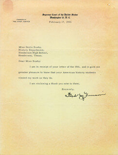 CHIEF JUSTICE FRED M. VINSON - TYPED LETTER SIGNED 02/07/1953