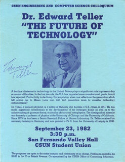 EDWARD TELLER - FLYER SIGNED CIRCA 1982