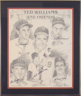 TED WILLIAMS - PRINTED ART SIGNED IN INK CIRCA 1990 CO-SIGNED BY: DOM DIMAGGIO, JOHNNY PESKY, EDDIE PELLAGRINI, BOBBY DOERR, JAMES M. AMORE
