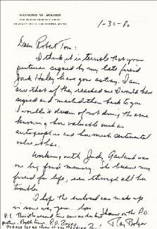 RAY BOLGER - AUTOGRAPH LETTER SIGNED 01/30/1980
