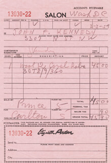 FIRST LADY JACQUELINE B. KENNEDY - RECEIPT SIGNED 03/03/1959
