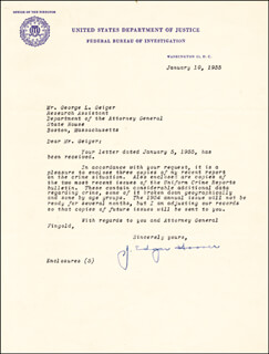 J. EDGAR HOOVER - TYPED LETTER SIGNED 01/10/1955  - HFSID 218295