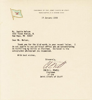 GENERAL COLIN L. POWELL - TYPED LETTER SIGNED 01/14/1993
