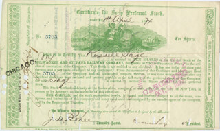 Autographs: RUSSELL SAGE - STOCK CERTIFICATE DOUBLE SIGNED & END. 04/01/1874