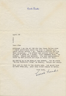 CAROLE LANDIS - TYPED LETTER SIGNED 04/26/1944