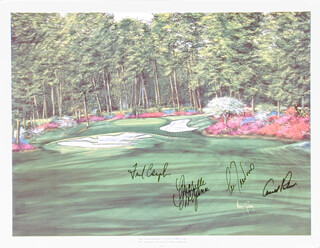 ARNOLD PALMER - PRINTED ART SIGNED IN INK CO-SIGNED BY: FRED COUPLES, LEE TREVINO, MICHELLE McGANN, NANCY RABORN